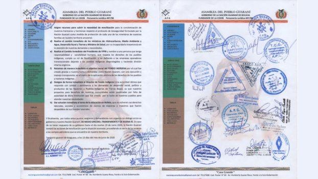 Carta asamblea Pueblo Guaraní