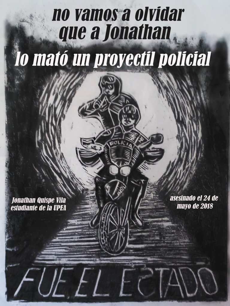 Afiche: No vamos a olvidar que a Jonathan lo mato un proyectil policial