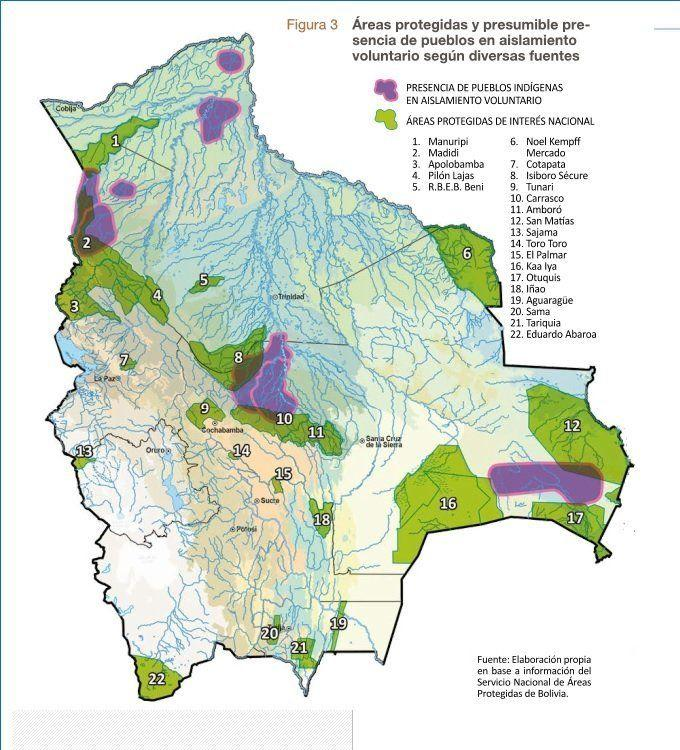 Mapa de pueblo indígenas en aislamiento voluntario